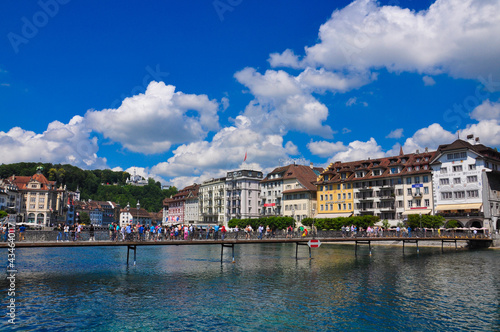 Canvas Print Scenic panorama of the Old Town medieval architecture in Luzern, Switzerland