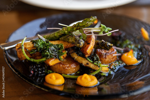 Fotografiet farm to table, garden fresh vegetables grilled for a healthy dinner