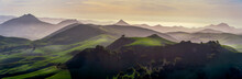 Panorama Of Layers Of Mountains At Sunset, Sunrise
