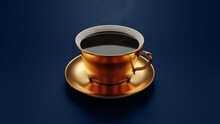 3d Render Of A Steaming Fine Hot Cup Of Coffee With Clean Blue Background With Blurry Gold Material On Cup
