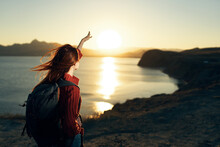 Woman Hiker In Stroll Rocky Mountains Sunset Travel