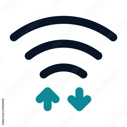icon wifi data using filled line style and blue color Fototapet