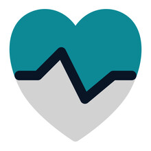 Icon Heartbeat Using Flat Style And Blue Color Dominate