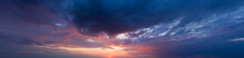 Panorama Sky. Beautiful Cloud In The Sunrise Sky Background. Sky Banners Background.