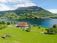 Countryside View At The Side Of Lake Lucerne With The Famous Rigi Mountain On The Background