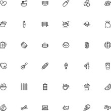 Icon Vector Icon Set Such As: Glyph, Decoration, Rack, Round, Common, Graphics, Pancake, Bag, Holiday, Cylinder, Modern, Earthstar, Celebrate, Eating, Booze, Stainless, Items, Advertising, Drawing