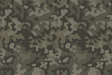 Classic Khaki Green Camouflage Print, Seamless Pattern. Abstract Modern Camo, Military Background For Army Or Hunting. Vector Texture