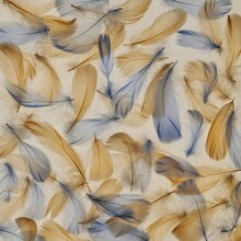 Feathers Background In Pastel Colors. Blue And Beige Feathers Texture. Natural Materials.Beautiful Nature Background.Airiness And Lightness Symbol. Beautiful Wallpaper