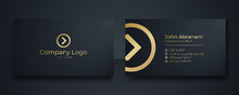 Modern Business Card - Creative And Clean Business Card Template. Luxury Business Card Design Template. Elegant Dark Back Background With Abstract Golden Wavy Lines Shiny. Vector Illustration