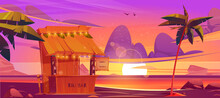 Tiki Bar, Wooden Hut With Tribal Masks, Drinks And Snacks On Sea Beach At Sunset. Vector Cartoon Tropical Landscape With Ocean, Palm Trees And Cafe At Evening. Exotic Vacation And Travel Concept
