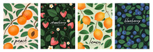 Posters With Strawberry, Peach, Lemon And Blueberry Branches. Backgrounds With Fruits And Berries.