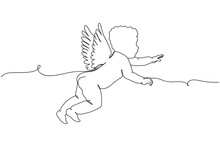 Continuous One Line Of Angel Baby In Silhouette. Linear Stylized. Minimalist.