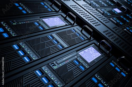 Fotografie, Obraz Server data center racks in server room 3D