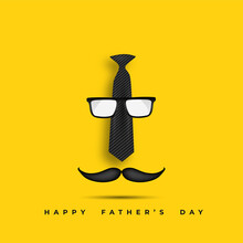 Happy Father`s Day Vector With Glasses, Bow Tie.
