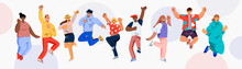 Happy Jumping People. Young Man And Women Happy Dancing. Cheerful Corporate Employees Cartoon Characters Set. The Concept Of Friendship, Success And Teamwork, Music And Party. Flat Vector Illustration