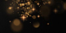 Glittering Particles Of Fairy Dust. Magic Concept. Abstract Festive Background. Christmas Background. Space Background.