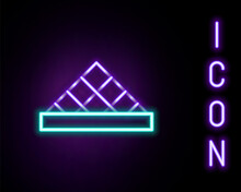 Glowing Neon Line Louvre Glass Pyramid Icon Isolated On Black Background. Louvre Museum. Colorful Outline Concept. Vector