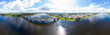 Rybinsk, Russia. View of the embankment of the city of Rybinsk and the bridge over the Volga River. Aerial photography. Panorama 360