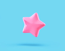 Cartoon Glossy Pink Star Isolated On Blue Background