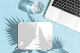 Fototapeta Kawa jest smaczna - Laptop mouse pad mockup shadow Home office workplace flatlay