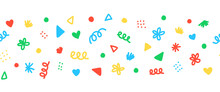 Seamless Border With Colorful Decorative Scribble Shapes Party Sprinkles. Repeating Horizontal Banner Vector Pattern Doodle Shapes. Use As Footer, Divider, Ribbon, Trim, Party Decor, Kids Party.