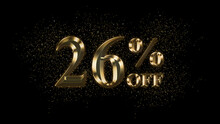 26 Percent Off, Gold Text Effect, Gold Text With Sparks, Gold Plated Text Effect