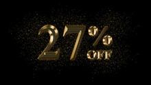 27 Percent Off, Gold Text Effect, Gold Text With Sparks, Gold Plated Text Effect