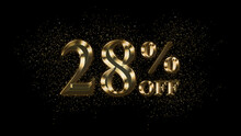 28 Percent Off, Gold Text Effect, Gold Text With Sparks, Gold Plated Text Effect