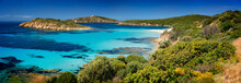 Panoramic View Of The Beautiful Coast Of Teulada In Sardinia With The Little Island Of Tuerredda. Turquoise Sea In The Coast Of Sardinia. Tuerredda Coast, Sardinia, Italy. High Resolution.