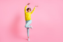 Full Size Photo Of Young Pretty Positive Good Mood Cheerful Girl In Funky Glasses Dancing Isolated On Pink Color Background