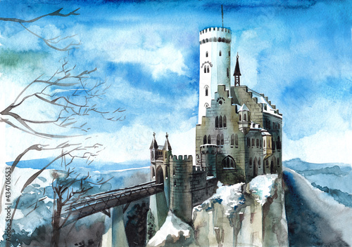 An illustration of a lovely winter landscape with a Gothic-style castle on a hilltop in blue and brown colors Fototapeta
