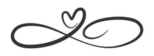 Symbol Of Eternal Love. The Heart And The Infinity Sign. Calligraphy Illustration For Creative Design Of Love Declaration, Valentine's Day, Wedding