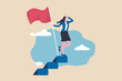 Success female entrepreneur, woman leadership or challenge and achievement concept, success businesswoman on top of career staircase holding winning flag looking for future visionary.