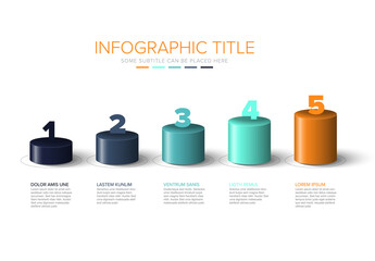 Vector colorful multipurpose Infographic template with cylinder steps