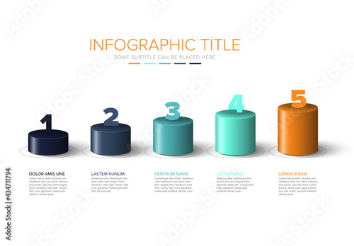 Vászonkép Vector colorful multipurpose Infographic template with cylinder steps