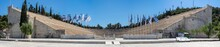 Athens, Attica, Greece. The Panathenaic Stadium Or Kallimarmaro At The Center Of Athens City. It Hosted The Opening And Closing Ceremonies Of Thefirst Modern Olympics In 1896. Sunny Day