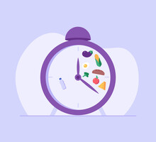 Mealtime Hours, Water, Cereals, Vegetables, Cheese. Concept Of Intermittent Fasting, Diet, Diet Plan, Proper Nutrition, Dream Figure, Fitness, Healthy Food. Vector Illustration In Flat Design