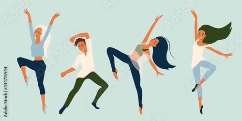 Carta da parati Girl and guy dancers in different poses, set of vector characters in flat style, collection of modern dancers