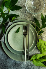 Overhead View Of A Rustic Place Setting On A Table
