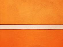 Orange Wall Background With Decorative White Band, Renovated Italian House.