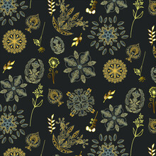 Seamless Floral White And Gold Pattern With Cat Mask On The Grey Background