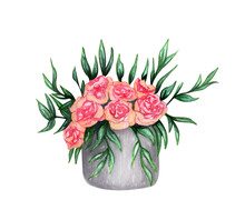 Watercolor Bouquet In A Basket Isolated On White Background. Hand Painted Pink Flowers And Green Leaves. Floral Illustration.