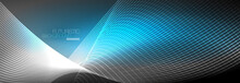 Abstract Neon Glowing Light In The Dark With Waves. Shiny Magic Energy And Motion Concept, Vector Abstract Wallpaper Background