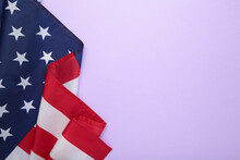 American Flag On Purple Background With Copy Space