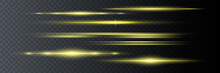Set Of Yellow Horizontal Lens Flares. Laser Beams, Horizontal Light Beams. Beautiful Flashes Of Light. Glowing Stripes On A Dark Background. Glowing Abstract Sparkling Lined Background.
