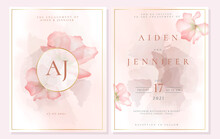 Elegant Engagement Invitation Template With Orchid In Pink Pastel Color.
