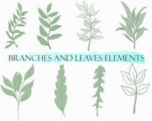 Set Of Branches And Leaves, Vector. Simple Botanical Green Design Elements. Hand Drawing.