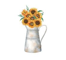 Hand Drawn Watercolor Sunflower Arrangement With Vase