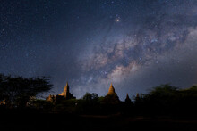 Long Exposure Photograph With Grain. Milky Way At Bagan Is An Ancient With Many Pagoda Of Historic Buddhist Temples And Stupas., Bagan, Myanmar.