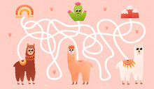 Labyritn Game For Kids With Cute Alpaca Characters, Help Them Find Right Way To Cactus, Peru Elements, Kids Maze Or Puzzle For Books Or Printable Worksheets On Pink Background